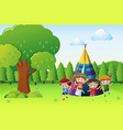 children playing indians in the park vector image vector image