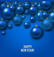 christmas background with blue christmas balls and vector image vector image
