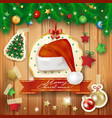 christmas background with fir and santas hat vector image vector image