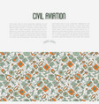 civil aviation concept contains thin line icons vector image