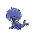 color crayon silhouette caricature cute seal vector image