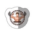 colorful sticker border with muscle man lifting a vector image vector image
