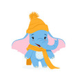 cute baby elephant in an orange knitted hat and vector image vector image