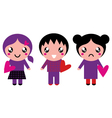 Cute Emo kids holding hearts isolated on white vector image vector image