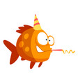 cute funny fish in party hat with horn blower vector image vector image