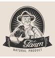 Farm logo design template Farmer farming vector image vector image