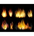 Fire Realistic elements set vector image vector image