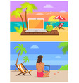 freelancer with laptop set vector image vector image