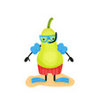 funny pear scuba diver humanized fruit character vector image
