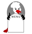 Funny Stork Bird shows menu vector image vector image