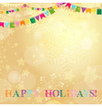 Golden Christmas card with translucent snowflakes vector image