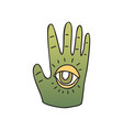 green palm with seeing eye on white background vector image vector image