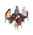 group funny friends playing poker together vector image vector image