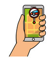 hand holding smartphone gps navigation car road vector image vector image