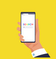 hand holding smartphone with search mobile in arm vector image vector image