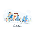 happy family cycling together flat concept vector image