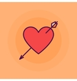 Heart with arrow flat vector image vector image