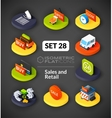Isometric flat icons set 28 vector image