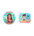 like me blogger male and female people set vector image vector image