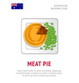 meat pie traditional australian dish vector image