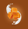 milk splash and caramel cubes realistic vector image vector image
