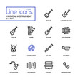 musical instruments - modern line design icons set vector image