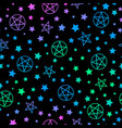 mystical bright neon pattern with stars vector image