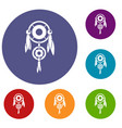 native american dreamcatcher icons set vector image vector image