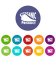 organic bio product icons set color vector image