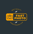 Photography Logo Design Template Retro Badge Fast vector image