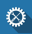 service tool screwdriver spanner and cogwheel vector image vector image