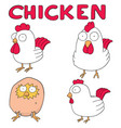 set of chicken vector image