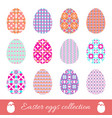 set of easter eggs with spring ornament collection vector image