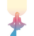 silhouette girl meditating in lotus position vector image vector image