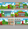 six scenes of neighbors with building along the vector image vector image