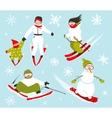 Skier Snowboarder Snowflakes Winter Sport Set vector image