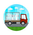 small truck with windows on the road vector image