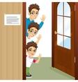 three brothers peeking of the door waving vector image