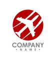 travel agency logo design idea with airplane vector image