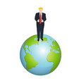trump on the earth globes on white background vector image