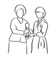 two businesswomen holding trophy together vector image vector image