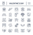 valentines day flat line icons love romance vector image vector image