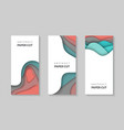 vertical flyers with colorful paper cut waves vector image vector image