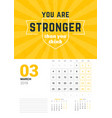 wall calendar template for march 2019 design vector image vector image