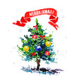 watercolor artistic christmas tree isolated vector image vector image