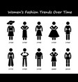 woman fashion trend timeline clothing wear style vector image vector image