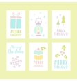 Set of 6 Christmas cards vector image