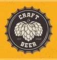 craft beer bottle cap with hops