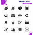 16 solid glyph black viral virus corona icon pack vector image vector image