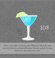 alcoholic blue cocktail card template vector image vector image